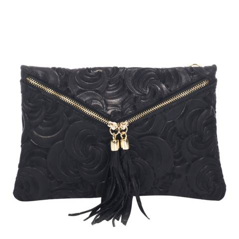 Lisa Minardi Black Leather Clutch Bag
