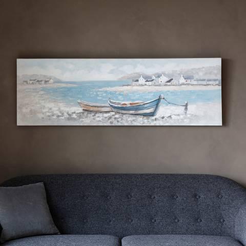 Gallery Boats Ashore Art Canvas 150x50cm