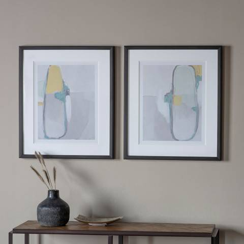 Gallery Nordic Abstract Framed Art Set of 2 59x69cm