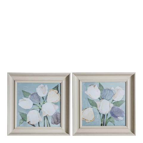 Gallery Pastel Tulip Framed Art Set of 2 55x55cm