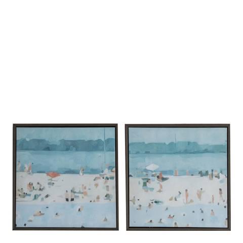 Gallery Summer Seaside Framed Canvas Set of 2 32x32cm