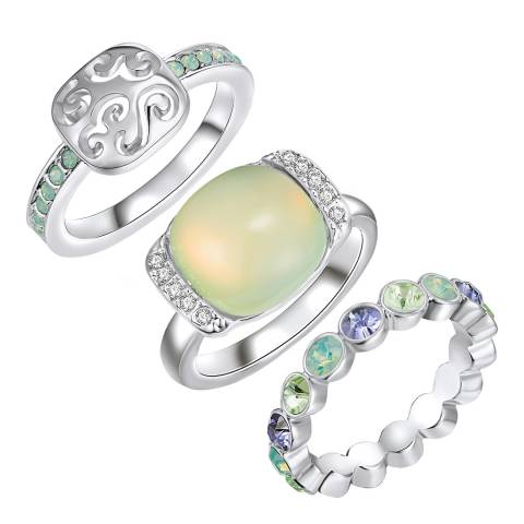 Lilly & Chloe Silver/Green Rings with Swarovski Crystals Set of 3