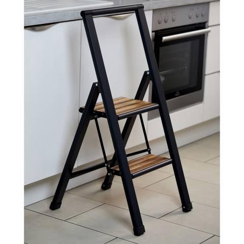 Wenko 2 Step Black Aluminium Folding Step Ladder
