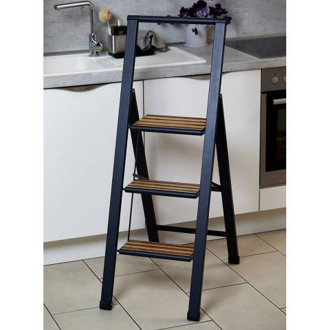Wenko 3 Step Black Aluminium Folding Step Ladder