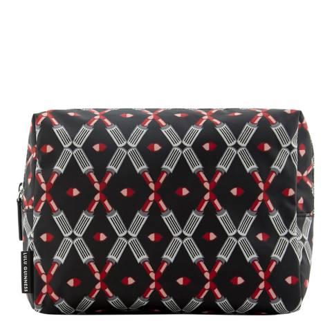 Lulu Guinness Black/Silver Large Lipstick Lattice Boxy Wash Bag