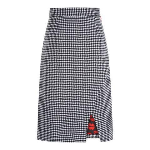 Lulu Guinness Black/Chalk Houndstooth Winnie Skirt