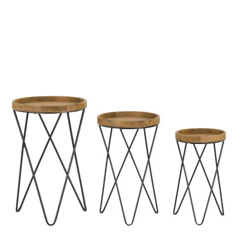 Hill Interiors Loft Collection Set Of Three Side Tables