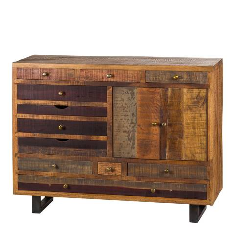 Hill Interiors Multi Drawer Reclaimed Industrial Chest With Brass Handle