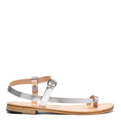 Oliver Sweeney Silver Luxe Leather Laconella Asymetric Sandals