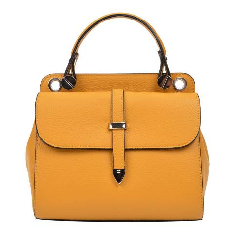 Carla Ferreri Yellow Leather Top Handle Bag