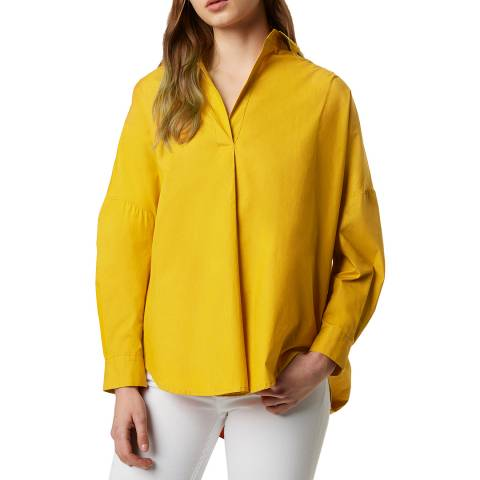 French Connection Yellow Poplin Long Sleeve Shirt