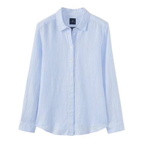 Crew Clothing Blue Linen Stripe Shirt