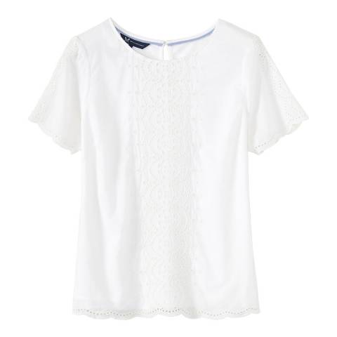 Crew Clothing White Broderie Top