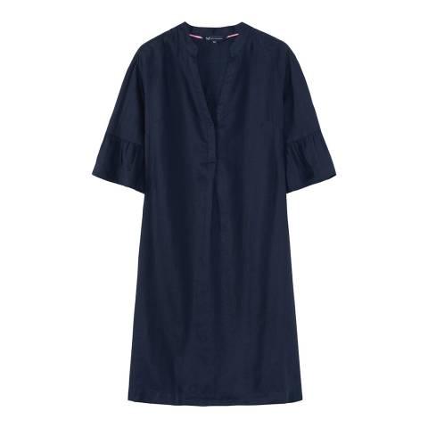 Crew Clothing Navy Linen Bell sleeve Dress
