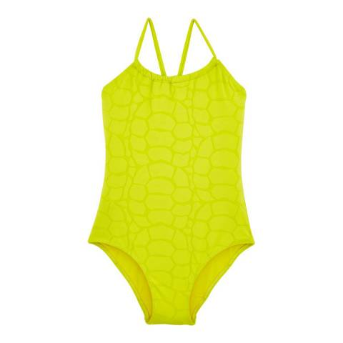 Vilebrequin Girl's Chartreuse Jacquard Turtles Scales Swimsuit