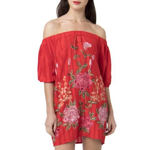 Pia Rossini Red Zella Bardot Dress