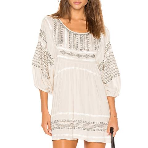 Free People White Wild One Embroidered Top