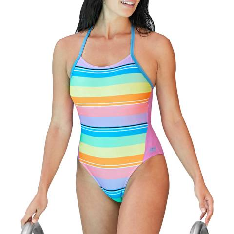 Zoggs Stripe Tranquil T-Back Swimsuit