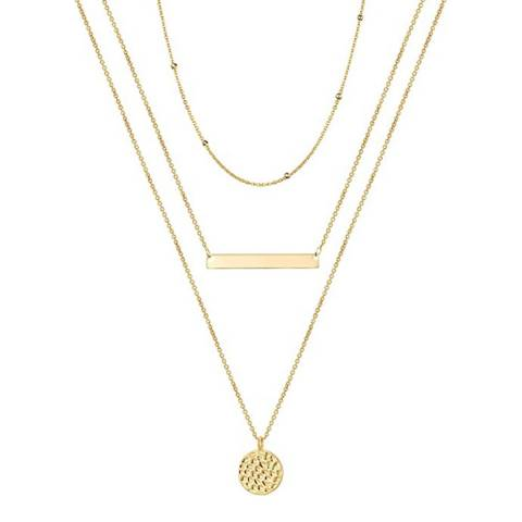 Chloe Collection by Liv Oliver 18K Gold Plated Multi Layer Necklace
