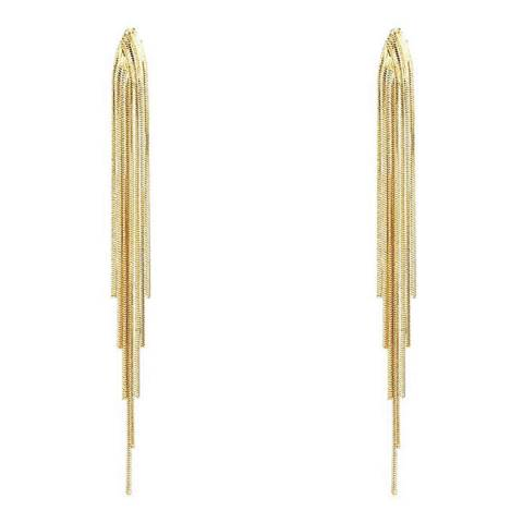 Chloe Collection by Liv Oliver 18K Gold Plated Tassel Earrings