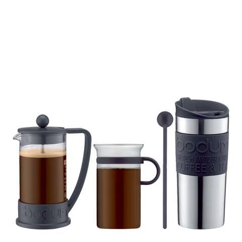 Bodum 3 Piece BRAZIL Coffee Maker, Vacuum Travel Mug & Bistro Nouveau Coffee Glass with Spoon Set