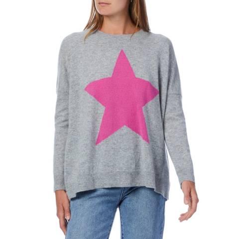 Scott & Scott London Grey/Pink Star Round Neck Cashmere Jumper