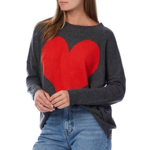 Scott & Scott London Grey/Red Quirky Heart Cashmere Jumper
