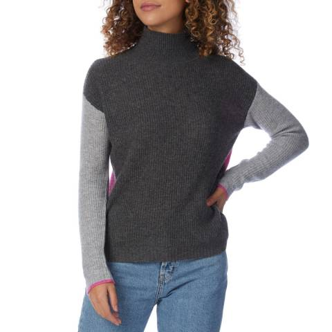Scott & Scott London Grey/Pink Funnel Neck Cashmere Jumper