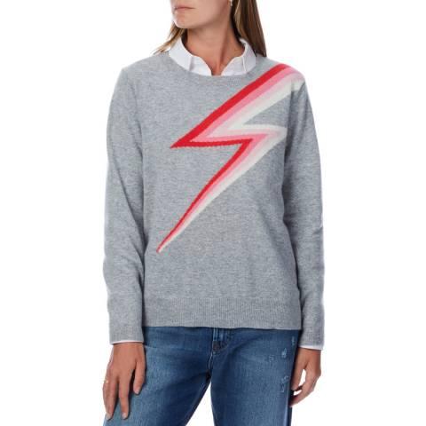 Scott & Scott London Grey Rainbow Thunderbolt Cashmere Sweatshirt