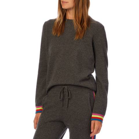 Scott & Scott London Grey Rainbow Stripe Cashmere Jumper