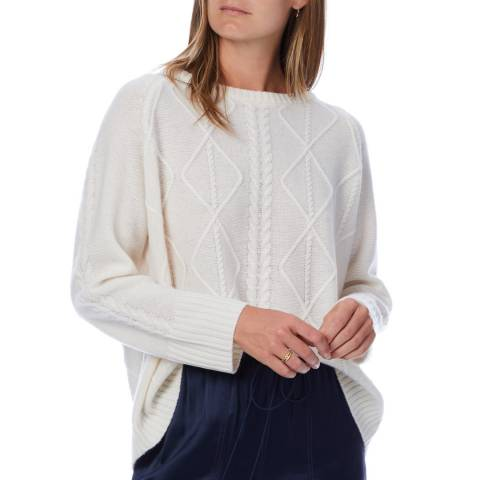 Scott & Scott London White Cable Cashmere Jumper