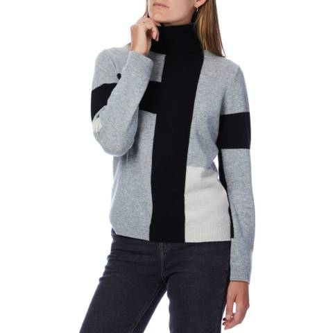 Scott & Scott London Grey Colour Block Cashmere Geo Polo Neck