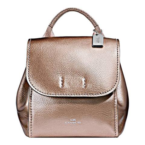 Coach Rose Gold Metallic Derby Backpack