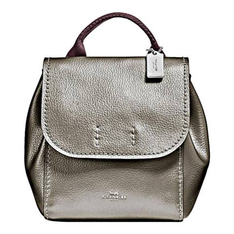 Coach Gunmetal Metallic Derby Backpack