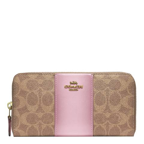 Coach Tan Blossom Signature Accordion Zip Wallet