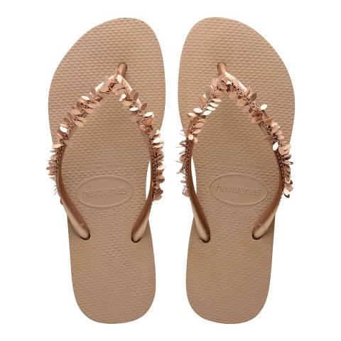 Havaianas Rose Gold Slim Leaves Flip Flops