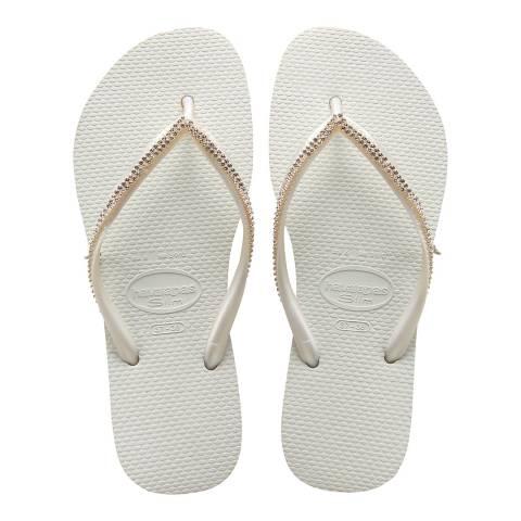 Havaianas White Slim Crystal Mesh II Flip Flops