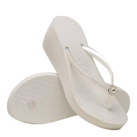 Havaianas White & Silver High Fashion Poem Wedge Flip Flops