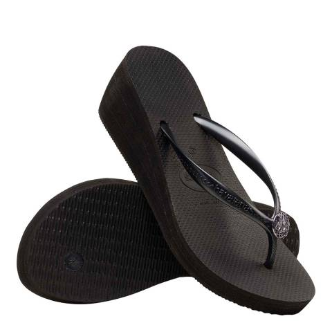Havaianas Black & Dark Grey High Fashion Poem Wedge Flip Flops