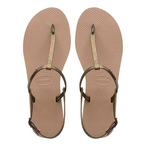 Havaianas Rose Gold Riviera You Crystal Sandals
