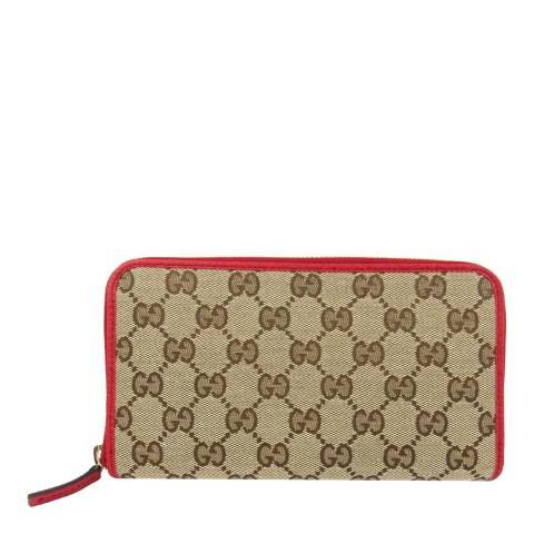 Gucci Red Gucci Monogram Zip Around Purse