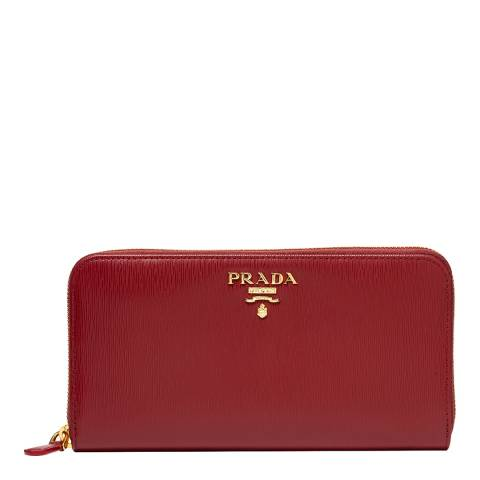 Prada Dark Red Prada Leather Long Wallet
