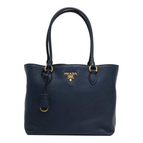 Prada Navy Prada Leather Handbag