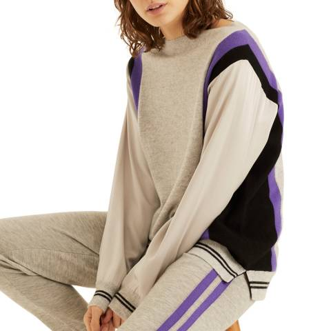 Amanda Wakeley Grey Colour block Knit Cashmere Jumper