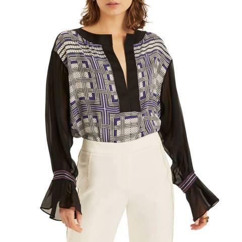 Amanda Wakeley Blue/Multi Printed Check Silk Top
