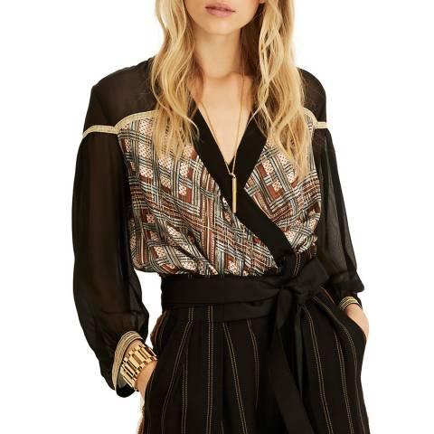 Amanda Wakeley Brown Printed Metallic Silk Wrap Top