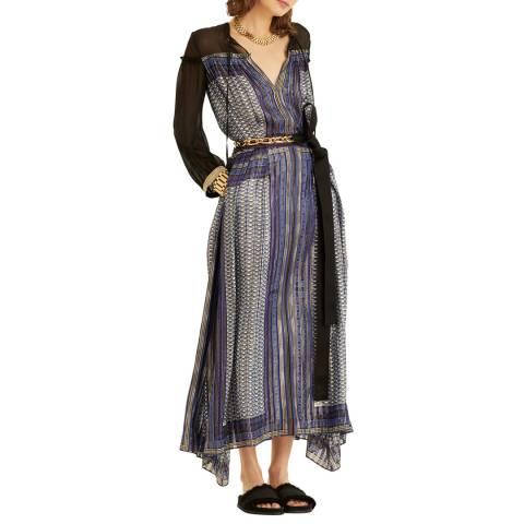 Amanda Wakeley Blue Printed Metallic Silk Midi Dress