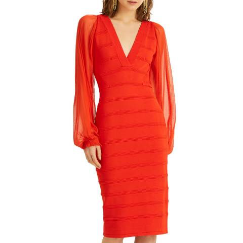 Amanda Wakeley Orange Tulle Mix Knit Dress