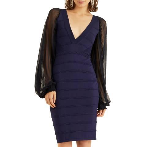 Amanda Wakeley Navy Tulle Mix Knit Dress