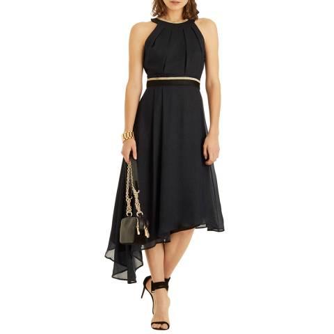 Amanda Wakeley Midnight/Multi Lame Silk Blend Midi Dress